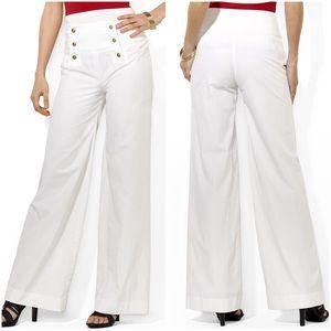NWT RALPH LAUREN High Waisted White Sailor Pants
